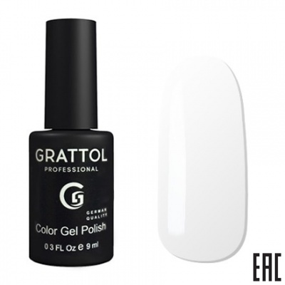 Grattol Color Gel Polish White GTС001
